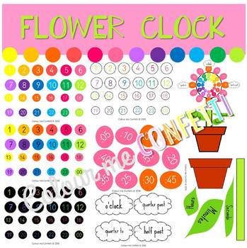 Flower Clock Display - Colour me Confetti