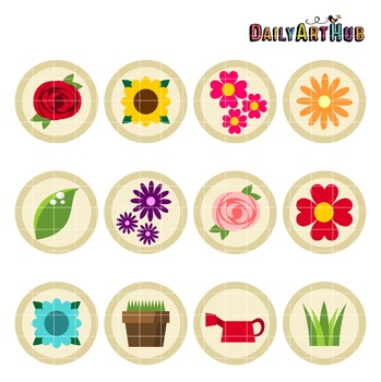 Flower Collage Clip Art - Great for Art Class Projects!