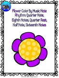Flower Color By Music Note Rhythm Coloring - Quarter/Eighth/Half/Sixteenth Note