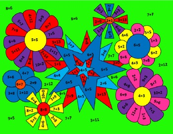 Flower Color By Number- Addition