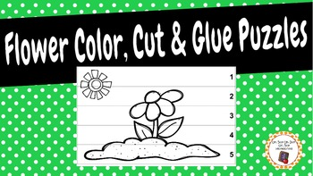 Flower Color, Cut and Glue Puzzles