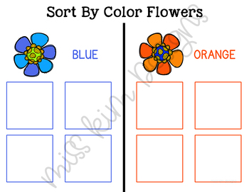 Flower Color Sorting Folder Game for Early Childhood Special Education