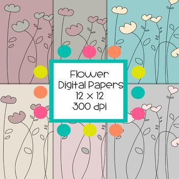 Flower Digital Papers  - 300 dpi 12x12