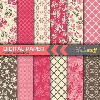 Flower Digital Papers, Floral Backgrounds, Chocolate Brown and Cherry Pink