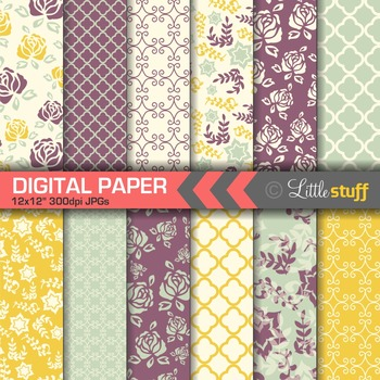 Flower Digital Papers, Floral Backgrounds, Purple & Yellow