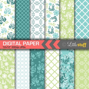 Flower Digital Papers, Floral Backgrounds, Turquoise Blue & Green