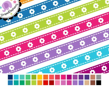 Flower Digital Ribbon Borders 1