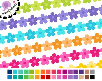 Flower Digital Ribbon Borders 2