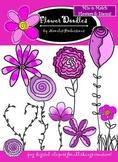 Flower Doodles Clipart - Mix-n-Match Flowers & Stems