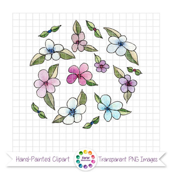 Flower Doodles - Ink and Watercolor Clipart