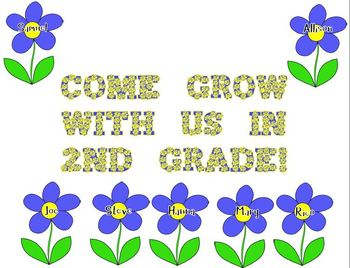 Flower Door Decoration: Come Grow With Us in 2nd Grade!
