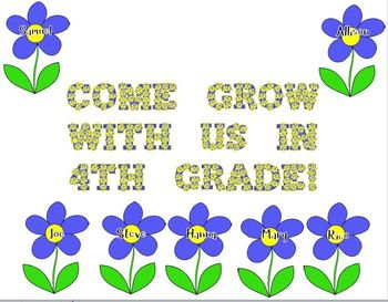 Flower Door Decoration: Come Grow With Us in 4th Grade!