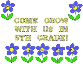 Flower Door Decoration: Come Grow With Us in 5th Grade!