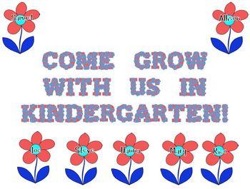 Flower Door Decoration: Come Grow With Us in Kindergarten! (Red and Blue)