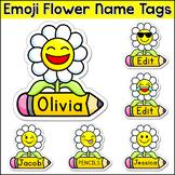Flower Emoji Theme Name Tags - Editable Classroom Labels