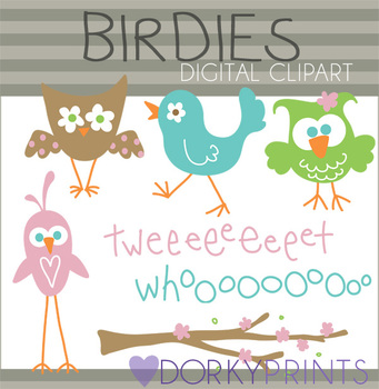 Flower Eye Birds Digital Clip Art