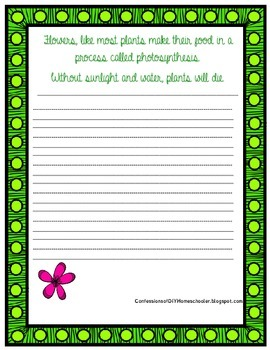 Flower Fact Copy Work- Cursive