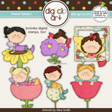 Flower Fairies 1 -  Digi Clip Art/Digital Stamps - CU Clip Art