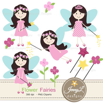 Flower Fairy digital paper and clipart
