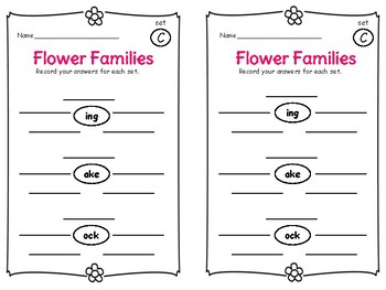 Flower Families - Word Families Centers