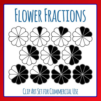 Flower Fractions - Tenths Maths Clip Art Set for Commercial Use