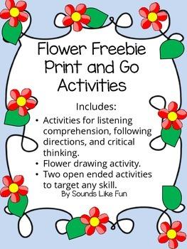 Flower Freebie Print and Go Activities