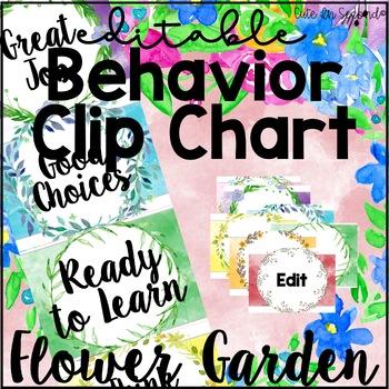 Flower Garden Behavior Clip Chart Editable