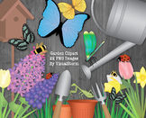 Flower Garden Clip Art Bundle, Flowers, Insects, Gardening Tools, 22 Images