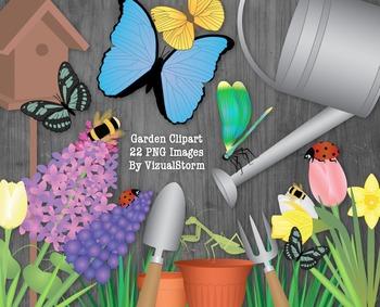 Flower Garden Clip Art Bundle, Flowers, Insects, Gardening