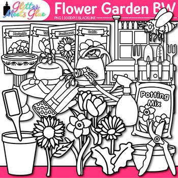 Flower Garden Clip Art {Seeds, Pots, & Gardening Tool for Spring Activities} B&W