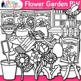 Flower Garden Clip Art  Seeds, Pots, & Gardening Tool for Spring Activities  B&W