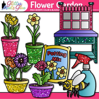Flower Garden Clip Art {Seeds, Pots, & Gardening Tools for Spring Activities}