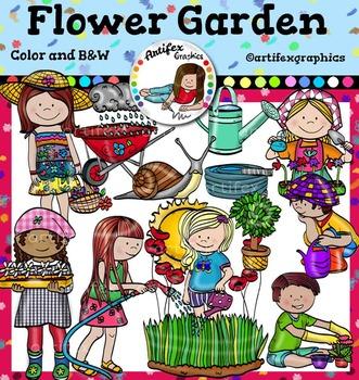 Flower Garden Clip Art set2. Color and B&W