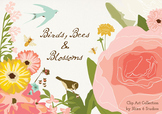 Flower Garden Clip Art with Birds, Bees & Blossoms