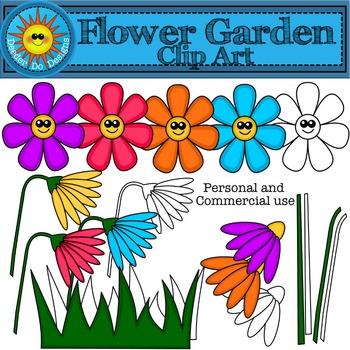 Flower Garden Clip Art- 300 dpi