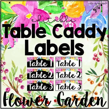 Flower Garden Table Caddy Labels