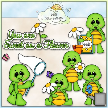 Flower Garden Turtles Clip Art - Turtle Clip Art - CU Clip Art & B&W
