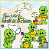 Flower Garden Turtles Clip Art - Turtle Clip Art - CU Clip