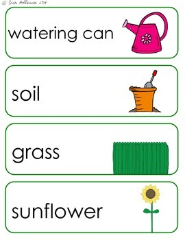 Spring Flower Garden Vocabulary Cards and Spelling Practice