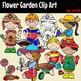 Flower Garden clip art -Color and B&W- 46 items!