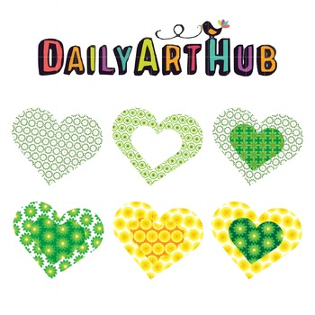 Flower Hearts Clip Art - Great for Art Class Projects!
