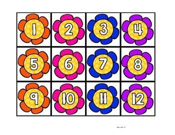 Flower Hundreds Chart Number Cards