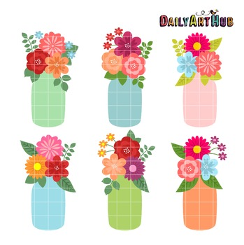 Flower Jars Clip Art - Great for Art Class Projects!