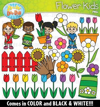 Flower Kids Clipart Set {Zip-A-Dee-Doo-Dah Designs}