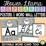 Flower Llama Alphabet Posters and Word Wall