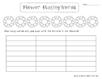 Flower Making Words; Making Words Activity