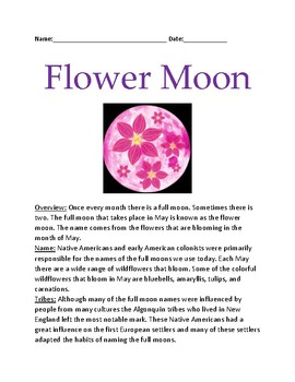 Flower Moon - May Full moon lesson facts information questions