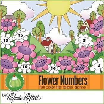 Flower Number Match File Folder Game