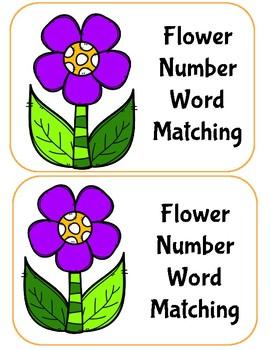 Flower Number Word File Folder Game