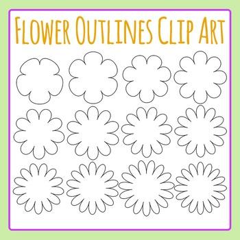 Flower Outlines / Borders / Shapes Clip Art Set for Commercial Use